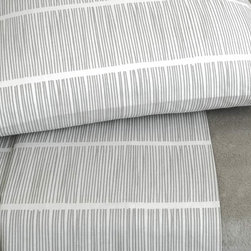 Area - Area Pins Grey Printed Cotton Flat Sheet - The bed linens are from a company called Area out of New York. Their products are designed by Anki Spets, with carefully chosen colors, one of a kind patterns and subtle details to create unique options. All of the bedding is made from natural fibers, and materials and factories are carefully chosen from around the world to ensure quality goods that last.