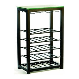 """TFG Furniture - Trio Wine Table - TFG Furniture Trio Wine Table. Trio Wine Table. Trio all about great design and great value. Sturdy construction made from 1.5"""" mild steel tubes. Glass top is 3/8"""" thick. Top racks holds as many as 16 stems. Five slatted shelves hold 25 bottles. Black powder coat finish yields rich color and subtle texture. Simple assemble required with screwdriver."""