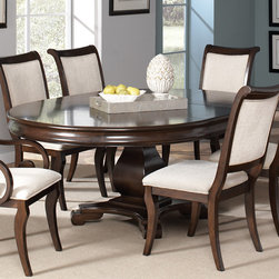 Coaster - Harris Pedestal Dining Table, Deep Rich Cherry - This beautiful pedestal dining table and chair set will be a lovely addition to your semi-formal dining room. The smooth table top features a convenient leaf so the length can be extended from 54 to 74 inches,