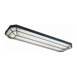 World Imports - Linear 4 Flourescent Light Flush Mount in Rus - Manufacturer SKU: WI720242. Bulbs not included. Combine style with function in the kitchen Collection. 4 Lights. Power: 32w. Type of bulb: T8. Rust finish. 56 in. W x 18 in. D x 4.75 in. H (30 lbs.)