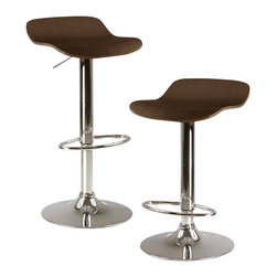 Winsome - Winsome Kallie Air Lift Adjustable Stools in Cappuccino (Set of 2) - Winsome - Bar Stools - 93489