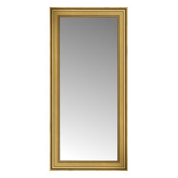 """Posters 2 Prints, LLC - 26"""" x 52"""" Arqadia Gold Traditional Custom Framed Mirror - 26"""" x 52"""" Custom Framed Mirror made by Posters 2 Prints. Standard glass with unrivaled selection of crafted mirror frames.  Protected with category II safety backing to keep glass fragments together should the mirror be accidentally broken.  Safe arrival guaranteed.  Made in the United States of America"""