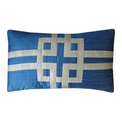 jiti - Chi Azure Pillow - Add some texture to your home decor with this Silk Embroidered Pillow. Perfect for any Room! This pillow is made of 100% Silk with 95% Feather and 5% down. Invisible zipper closure. Dry Clean Only