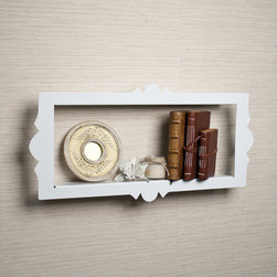 """Danya B - Scalloped Metal Rectangular Floating Shelf - White - """"Shadow box"""" metal shelf is constructed of sturdy 1.5mm metal,and powder coated in a smooth white. With its scalloped edges and the floating effect,these shelves resemble a framed piece of art rather than a traditional wall shelf."""