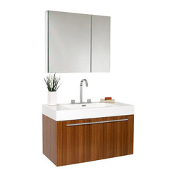 """Fresca - 35.5 Inch Teak Modern Bathroom Vanity - A spacious one basin vanity is a chic addition to any decor.  Ideal for anyone looking for a winning combination of style, sleek design, and size that brings it all together to present something dashingly urban.  A simple, sleekly chic design that compliments any interior that demands to be updated to a strong streamlined space.  A beautiful widespread chrome faucet is also included.  Optional side cabinets are available.  Dimensions: 35.38""""W X 18.75""""D X 21.75""""H (Tolerance: +/- 1/2""""); Counter Top: White Acrylic Countertop/Sink with Overflow; Finish: Teak; Features: 2 Doors, Soft Closing; Hardware: Chrome; Sink(s): 21.5""""x12.5""""x5.5"""" White Acrylic Sink with Overflow; Faucet: Pre-Drilled for Standard Three Hole 8"""" Center (Included); Assembly: Light Assembly Required; Countertop, Sink, Cabinet Not Attached; Large cut out in back for plumbing; Included: Cabinet, Sink, Faucet with Drain, Medicine Cabinet (29.5""""W x 26""""H x 5""""D); Not Included: Backsplash"""