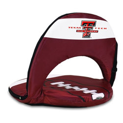 Picnic Time - Texas Tech Oniva Seat Sport Recreational Reclining Seat - Football fans will love this recreational reclining seat that's so lightweight and portable. The Oniva Seat Sport has an adjustable shoulder strap and six adjustable positions for reclining. The seat cover is made of brown polyester and has been designed so that the entire seat looks like a larger than life football! The bottom of the seat is black dimpled PVC so as not to soil easily, the frame is steel, and the seat is cushioned with high-density PU foam, which provides hours of comfortable sitting. The Oniva Sport - Football is great for the beach, the park, or as an indoor gaming seat and makes the perfect gift for fans of the great sport Americans call football!; College Name: Texas Tech; Mascot: Red Raiders; Decoration: Digital Print