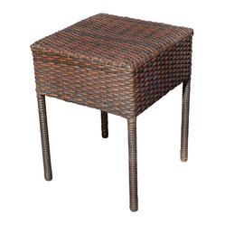 Great Deal Furniture - Edgar Outdoor Brown Wicker Side Table - The Edgar outdoor side table is stylish and convenient for your outdoor needs. You can place this table poolside, backyard porch, or near your seating area to serve snacks and beverages. Made of environment-friendly synthetic wicker, you'll find many uses for this table.