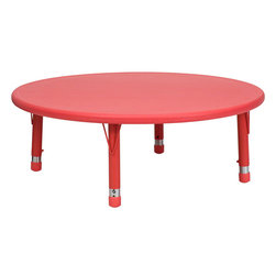 Flash Furniture - 45'' Round Height Adjustable Red Plastic Activity Table - Encourage your child to dream on. This round activity table is the perfect space for art projects, and best of all, the adjustable legs enable it to grow with your child.