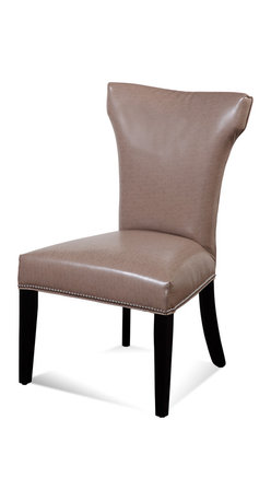 Bassett Mirror - Bassett Mirror Nelson Nailhead Parsons Chair, Kleen Seat Taupe (Set of 2) - Nelson Shaped Nailhead Parsons Chair, Kleen Seat Taupe, Set of 2