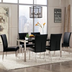 """Ashley Baraga Dining Room Collection - With sleek straight-line tubular metal table bases covered in a brushed nickel finish supporting stylish printed tempered glass table tops, the """"Baraga"""" Dining Collection perfectly captures the excitement and artistic beauty of refreshing Metro Modern designed furniture."""