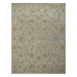 Rugsville - Rugsville Gabrielle Persian METALIC SILVER Wool Rug 11731 9x12 - Rugsville Gabrielle Persian METALIC SILVER Wool Rug 11731 9x12