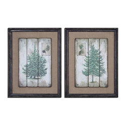 Uttermost - Uttermost Evergreens Vintage Art Set of 2 - 55007 - Uttermost's art combines premium quality materials with unique high-style design.