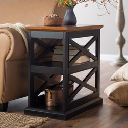 Belham Living Hampton Chair Side Table - Black/Oak - An updated take on a classic, this Hampton Chair Side Table - Black/Oak is a space-saving beauty you'll love. A chair side essential, this table is crafted of solid and engineered wood with an oak veneer top. It's framed with dual decorative X-stretchers that add homey details. Its contrasting two-tone black and oak finish bring casual elegance home. This side table has two open shelves perfect for storage or display space.About Belham LivingBelham Living builds catalog-quality furniture in traditional styles at a price that actually makes sense. By listening to our customers and working closely with great manufacturers, we build beautiful pieces worthy of your home. Rich wood finishes, attention to detail, and stylish lines that tie everything together are some of the hallmarks of a Belham Living piece. From the living room or bedroom, through the kitchen, and out onto the deck, there's something from an incredible Belham collection perfect for your style.