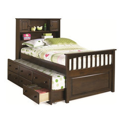 Atlantic Furniture - Twin Captain's Twin Bed / 3-Drawer Trundle / Antique Walnut - Available in Twin or Full size. Solid hardwood construction with quality wood veneers. Headboard book shelving and 2 cabinets. Underbed trundle with three storage drawers.
