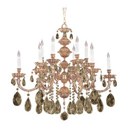 Crystorama - 12-Lights Olde Brass Chandelier with Polished Crystal - Ornate designs make this European series a perfect fit for any traditionalist.