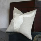 Pfeifer Studio Collection - Bring the American Southwest into your interior with this handmade linen pillow with an embossed leather steer skull appliqué. This handsome pillow has a matching linen back and is available in natural or black linen.