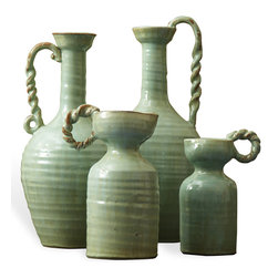 Kathy Kuo Home - French Country Hand Made Celadon Green Terracotta Vase Set - Set of 4 - Green with envy. These terra-cotta vases find their province with European-inspired styling, but you can't help notice the Asian influence of their gorgeous celadon finish. The handled pottery has presence to stand on its own, but also looks stunning when filled with colorful blooms.