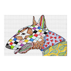 DiaNoche Designs - Area Rug by Marley Ungaro - Bull Terrier Dog - Finish off your bedroom or living space with a woven Area Rug with Chevron pattern  from DiaNoche Designs. The last true accent in your home decor that really ties the room together. Maybe its a subtle rug for your entry way, or a conversation piece in your living area, your floor art will continue to dazzle for many years. 1/4 thick. Each rug is machine loomed, washed and pre-shrunk, printed, then hemmed on the edges.   Spot treat with warm water or professionally clean. Dye Sublimation printing adheres the ink to the material for long life and durability