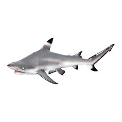 """EttansPalace - """"Blacktip Shark"""" Ceiling Mount Trophy Sculpture - Though swift, energetic and known to make spinning leaps out of the water while attacking prey, we're certain our nearly four-foot-long Blacktop Shark Trophy won't give you the same trouble as you proudly mount it from your ceiling. Our grand-scale game fish sculpture is cast in quality designer resin reinforced with fiberglass for strength, and hand-painted for authenticity with its characteristic black-tipped fins. This large-scale, display-quality animal sculpture is easily hung from your ceiling by the included eye hooks and transforms any home, garden, restaurant or hotel into something truly magnificent!"""