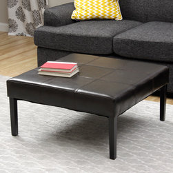 None - Square Faux Leather Coffee Table Ottoman - Add this square coffee table ottoman to your living room to provide a beautiful centerpiece to your decor. The ottoman is covered with a rich brown upholstery that looks elegant. It is filled with polyurethane foam and easy to clean with a dry cloth.