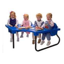 4 Seat Junior Activity Table - Give each child a place of their own in the 4 Seat Junior Activity Table and soon you'll have happy kids and even happier daycare staff. This tough activity table is molded from high-impact plastic making it ready to withstand all the love and abuse that comes from a child-care environment. Safety belts are included in each seat and the simple plastic design of this table makes cleaning a simple task. Each seat will usually accommodate children up to 40 lbs. If you care for a lot of children try arranging 4 of these tables into a circle allowing your staff to keep an eye on all the kids at once. This table is available in your choice of vibrant colors.About Toddler TablesAlmost 30 years ago Toddler Tables founder and church minister Glenn Holland got to work in his garage to fix a problem that he saw every Sunday. He noticed that parents with young children spent more time holding their children than they did being involved in the congregation. With an idea in mind he set out using the best materials and production methods available to help care for the children and assist the parents in his congregation. Holland's hard work paid off when he developed the first Toddler Table. With the seat mounted into the top of the table he was able to provide caregivers with more flexibility in their jobs and gave the children a safe and comfortable way to interact with other children. Before long Holland's new product began making waves in the child care industry and what was once being built in a garage is now produced in the Toddler Tables manufacturing facility in Raleigh North Carolina. Toddler Tables has become a symbol of commitment to the child care industry and even though they've grown beyond Holland's garage their attention to safety and quality are still available to every preschool Sunday school and daycare that cares just as much about the needs of the children they serve.