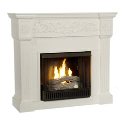 """Holly & Martin - Holly & Martin Huntington Gel Fireplace-Ivory X-81-6-130-131-73 - Crisp is the perfect description for this traditional ivory fireplace. Fluted columns frame the firebox on each side and an elegant floral design across the top of this classic fireplace draws attention. This beautiful mantel is finished off with understated molding that complements the design fabulously.  Requiring no electrician or contractor for installation allows instant remodeling without the usual mess or expense. In addition to your living room or bedroom, try moving this fireplace to your dining room for a romantic dinner or complement your media room with a ventless fireplace below your flat screen television. Use this great functional fireplace to make your home a more welcoming environment.  - 44.5"""" W x 14.5"""" D x 40.25"""" H                                                                          - Crisp ivory finish                                                                                    - Perfect media room accent                                                                             - Mantel supports up to 85 lb.                                                                          - Elegant floral trim                                                                                   - Accommodates a flat panel TV up to 42.5"""" W overall                                                    - Assemblry required                                                                                      - None of the mess of a wood burning fireplace                                                          - FireGlo Gel Fuel snaps and crackles like real burning wood (fuel not included)                        - Emits no smoke, odor, or ash                                                                          - Holds up to 3 cans of gel fuel simultaneously for a full bodied 6-8"""" flame                            - Each can of FireGlo produces up to 3000 BTU             """