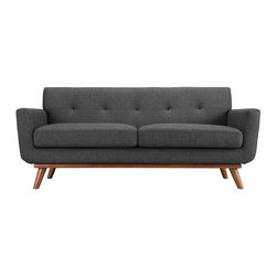 Modway - Engage Loveseat EEI-1179 Gray - Gently sloping curves and large dual cushions create a favorite lounging spot. Whether plopping down after a long day at work, settling in with coffee and brunch, or entering a spirited discussion with friends, the Engage loveseat is a welcome presence in your home. Five tufted buttons create eye catching appeal; adding depth that brings your sitting decor to center stage. Four cherry color rubber wood legs and frame supply a solid base to the comfortable upholstered material.
