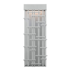 LBL Lighting - Pier Medium Outdoor Wall Sonce - The Pier Outdoor Wall Sconce has a delicate balance of light and shadow due to the contemporary design of its metal grid. Available in Bronze or Satin Nickel finish. One 17 watt 120 volt 3000K 1500 lumen LED module is included. 6.8 inch width x 17.9 inch height x 3.9 inch depth. ADA compliant. Suitable for wet or damp locations.
