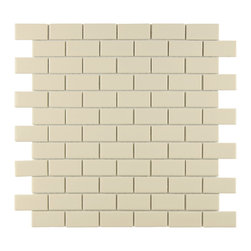 Somertile - SomerTile Victorian Subway 1x2-in Glossy Biscuit Porcelain Mosaic Tile (Pack of - This glazed porcelain tile is perfect for your kitchen, bath, fireplace, pool, foyer or backsplash. With a rich glossy beige glaze and rounded edges for added sparkle this tile can stand on its own or be used as an accent.
