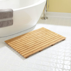 "36"" x 24"" Rectangular Bamboo Bath Mat - Add a touch of spa appeal to the bathroom with the spacious 36"" x 24"" Rectangular Shower Mat, made of water-resistant, eco-friendly bamboo."