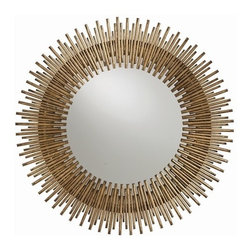 Arteriors - Arteriors Prescott Mirror-Round - Individual iron rods are welded together and finished in antique gold leaf to create this fresh interpretation of the always popular starburst. The round shape looks great alone or in multiples.