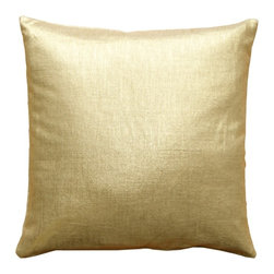 Pillow Decor - Pillow Decor - Tuscany Linen Metallic Throw Pillow - These 16 inch square pillows are made from 100% linen with a gold metallic finish. On your finger you'd consider them 14 karat, with the lighter soft undertone of the natural linen fabric. But throw this pillow on a bed or sofa and you've got all the eye catching glitter and grace of pure gold.