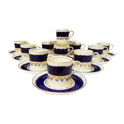 "Porcelain Demitasse Cups & Saucers - Set of 22 - Coffee Time! This is a beautiful set of 11 Ansley porcelain demitasse cups and saucers in cobalt blue with 24K gold decoration. This Gatsby-era service was manufactured in the 1920s and 1930s. Cups measure 2"" diameter x 2.25"" high.  They are in Excellent condition given that these are almost 100 years old!"