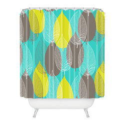 DENY Designs - Aimee St Hill Big Leaves Blue Shower Curtain - Who says bathrooms can't be fun? To get the most bang for your buck, start with an artistic, inventive shower curtain. We've got endless options that will really make your bathroom pop. Heck, your guests may start spending a little extra time in there because of it!