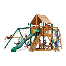 Gorilla Playsets - Gorilla Playsets Navigator Supreme Wood Swing Set with Western Ginger Canopy Mul - Shop for Swings Slides and Gyms from Hayneedle.com! Whether your child wants to run up loyal colors or sail under the more notorious Jolly Roger the Gorilla Playsets Navigator Supreme Wood Swing Set with Western Ginger Canopy gives them a sound structure on which to cast their seagoing fantasy. The imagination of a child is a miraculous thing. With it a mounted steering wheel turns a simple rail into the helm of a ship and a toy telescope transforms a five-foot platform into a crow's nest thirty-five feet above the sea while the flag kit that it comes with helps solidify this storyline by really letting them declare their allegiance. This creatively designed play set is a perfect canvass on which your little adventurers can paint their dreams. The ability to explore and plan fantastical adventures bolsters a bold confidence in your children helping them learn what it means to be a leader. The encouragement to actively play outdoors also helps kids develop gross motor skills as well as a natural affinity for fresh air and exercise that will pave the way for a happy and healthy life. The swings monkey bars and climbing structures all inspire this kind of kinetic play. As kids climb up down and all around this set parents will feel better knowing the children are safe with the securely anchored easy-grip handles and stable square footing. The canopy and the built-in picnic table allow kids to stay outside and play almost all day without you having to worry about them getting too much sun because the canopy is made from all-weather Sunbrella fabric that protects them both from harsh UV rays and even light rain.Additional FeaturesTotal dimensions: 19W x 18D x 11H feetPlatform dimensions: 6W x 4L x 5H feetIncludes tic-tac-toe panel steering wheel telescopeAlso includes flag kit safety handles hardware4 x 4 solid wood framing4 x 6 swing beamsNaturally resistant to rot deca