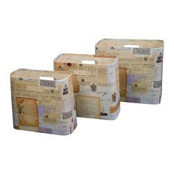 Enchante Accessories Inc - Vintage Open Magazine Bins Beige (Set of 3) - Set of 3 open magazine bins
