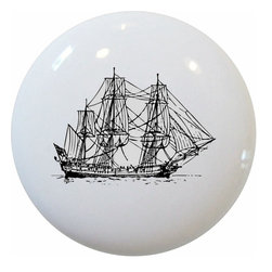 Carolina Hardware and Decor, LLC - Corvette Ship Nautical Ceramic Knob - 1 1/2 inch white ceramic knob with one inch mounting hardware included.   Great as a cabinet, drawer, or furniture knob.  Adds a nice finishing touch to any room!
