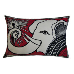 """KOKO - Match Co. Pillow, Elephant Print, Ecru/Black, 13"""" x 20"""" - Vintage advertisements are a great way to bring humor into a room. These Indian match box pillows are both charming and bold. This one would surely be a conversation starter in the living room."""