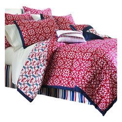 Nautical Print 8-piece Comforter Set King Red - Comforter sets aren't just for sleeping. They can also be regarded, like armoires and suits of armor, as a practical piece of art for the bedroom. This eight-piece set includes euro shams, decorative pillows, pillow shams, and a tailored bed skirt, not to mention an oversized, overfilled comforter wrapped in 100% polyester.
