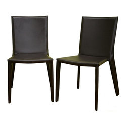 Wholesale Interiors - Baxton Studio Contemporary Dining and Accent Chair - 2-Piece Set - Elsewhere you could pay this price for just one of these handsome European style chairs, but you get a pair in this remarkable Baxton Studio set. Simply classic modern chairs are crafted from brown bonded leather stretched tightly over a strong sturdy steel frame. Sleek and slender, these chairs have a slim and graceful silhouette. They are ideal for dining, office, or anywhere you want to add affordable attractive seating. A blank canvas, unadorned and ready for your own personal touch, this chocolate brown bonded leather dining chair does double-duty as an accent chair or contemporary office furniture. Framing underneath the leather is done in sturdy steel, and small black plastic stoppers are attached to the bottom of each leg to help protect your flooring. Brown stitching on the edges of the leather matches the leather itself.