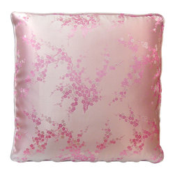 China Furniture and Arts - Silk Pillow - Cherry Blossom, Pink - Cherry blossom is elegantly brocaded on the luxurious pink silk. Mix or arrange decoratively on a sofa, bed, or chaise. Zipper cover removes for dry cleaning.