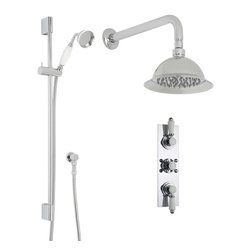 "Hudson Reed - Traditional Thermostatic Shower System with 8 Rose & Handshower - Add timeless style to your bathroom with the Traditional shower system from Hudson Reed, which includes the triple thermostatic shower valve, 8 shower rose with arm and the slide rail kit with handshower. Made in Great Britain, the durable thermostatic shower valve incorporates an anti-scald device for a safer showering experience, while the ceramic disc technology provides smoother control over the flow and temperature of the water. Hudson Reed Thermostatic Triple Shower Valve Details   Solid brass rough-in valve Made in Great Britain Serviceable check valves and strainers Ceramic Disc Technology Pre-set maximum temperature 104ºf Automatic anti scald device Recommended pressure for best performance 2 to 75 psi  ½ NPT Inlets and Outlets Compatible with standard US plumbing connections Compatible with combi boilers, gravity fed systems, unvented mains pressure systems and for shower pumps Warranty: 10 years Hudson Reed 8 Shower Rose Details   IAPMO Approved 1/2 NPT inlets Chrome finish Easy clean nozzles 9.5L/min 2.5gpm regulator installed Supplied with 13 wall mounted arm  Hudson Reed Linear Slide Rail Details   Chrome finish IAPMO approved Easy to fix Includes large brass traditional handset  Shower Consists of:     UFG-HR721Triple Valve Body Only Concealed  UFG-HRPS711Slim Triple Trim Plate (Round Flange)   UFG-HRH709Traditional Crosshead Temperature Handle  UFG-HRH711Traditional Flow Control Lever  UFG-HRSK701Linear Slider Rail Kit  UFG-HRFH70159"" Double Lock  UFG-HRH1981/2 Double Check Valve Connector with DW15 Check Valves  UFG-HROE702Minimalist Outlet Elbow  UFG-HRHS705Large Brass Traditional Handset  UFG-HRSH706Shower Rose 8""  UFG-HRAM701Wall Mounted 13"""