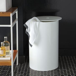 Lacquer Bath Hamper | west elm - Take away that urge to leave your dirty clothes on the bathroom floor. Add this modern hamper to your bathroom and keep things tidy.http://www.westelm.com/products/lacquer-bath-hamper-b571/?pkey=caccessories-bath