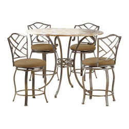 """Hillsdale - Hillsdale Brookside 5-Piece Counter Height Dining Table Set with Hanover Stools - Hillsdale - Dining Sets - 4815DTBSGHR - Hillsdale Furniture's versatile Brookside counter height dining features the panache of a pub with all comfort and convenience of full scale dining. This gathering height table is topped with a stunning 45"""" fossil stone top and can be sold with your choice of four stools. The Hanover stool features a delicate lattice backed design and boasts the always popular beige microfiber and finished in a flecked brown."""