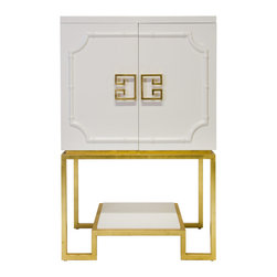 Worlds Away - Worlds Away White Lacquer Bar Cabinet ANNA WH - White lacquer bar cabinet with gold leaf greek key base and white lacquered shelf. Inside cabinet is backed with mirror and each side contains 2 adjustable glass shelves.