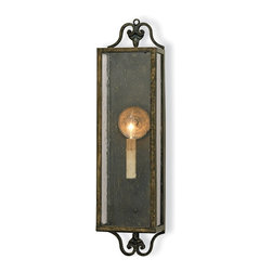 Currey and Company - Wolverton Wall Sconce - Want your home to look as divine from the outside as it does from the inside? Start with the lighting. This exquisite wall sconce has charming curb appeal as it radiates light from the single candelabra through its glass light box. Timeless and elegant, the verdigris bronze finish of the wrought iron adds just the right touch of contemporary flair.