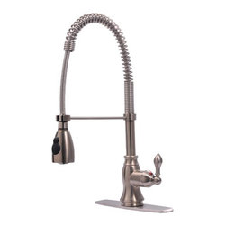 Ultra Faucets - Single Handle Centerset Bar Faucet with Pull Down Spout - Features: -Kitchen faucet.-Solid brass waterway.-Ceramic disc cartridge.-Pull-down spout operates in an aerated or spray mode.-Maximum flow rate of 2.2 GPM at 60 psi.-Single or three hole installation.-Single handle.-Includes pull down spout.-Distressed: No.Dimensions: -Overall dimensions: 11.81'' H x 2.95'' W x 22.32'' D.-Overall Product Weight: 5.6 lbs.