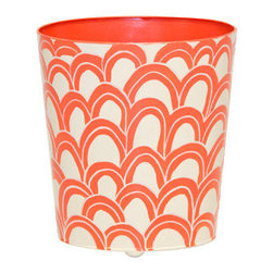 Worlds Away Oval Wastebasket, Orange and Cream Design - Worlds away oval wastebasket orange and cream design