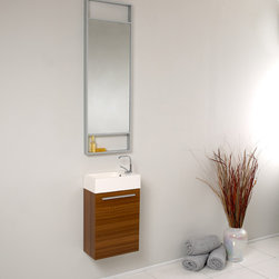 Fresca - Fresca Pulito Small Teak Modern Bathroom Vanity w/ Tall Mirror - Sleek, compact and contemporary, the Fresca Pulito Teak Modern Bathroom Vanity, model FVN8002TK, adds a lot of style to small powder rooms. The floating design saves valuable floor space.This wall-mounted small bathroom vanity features a horizontal integrated sink with a solid brass, chrome-finished single-hole faucet. The vanity's wide cupboard offers linen storage, and the tall mirror has a small shelf for holding personal items.
