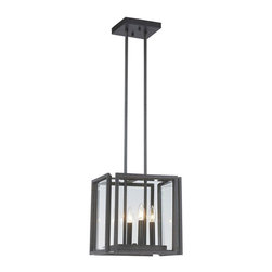 World Imports - Cubist 4-Light Pendant with Panel Glass Shade, Oxide Bronze - All metal construction with an oxide bronze finish